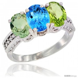 14K White Gold Natural Green Amethyst, Swiss Blue Topaz & Peridot Ring 3-Stone 7x5 mm Oval Diamond Accent