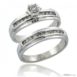 10k White Gold 2-Piece Diamond Engagement Ring Band Set w/ 0.37 Carat Brilliant Cut Diamonds, 3/16 in. (5mm) wide