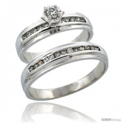 10k White Gold 2-Piece Diamond Ring Band Set w/ Rhodium Accent ( Engagement Ring & Man's Wedding Band ), w/ 0.40 Carat