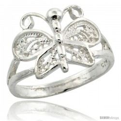 Sterling Silver Butterfly Filigree Ring, 1/2 in