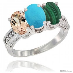 10K White Gold Natural Morganite, Turquoise & Malachite Ring 3-Stone Oval 7x5 mm Diamond Accent