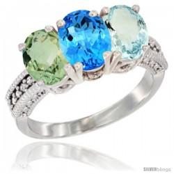 14K White Gold Natural Green Amethyst, Swiss Blue Topaz & Aquamarine Ring 3-Stone 7x5 mm Oval Diamond Accent