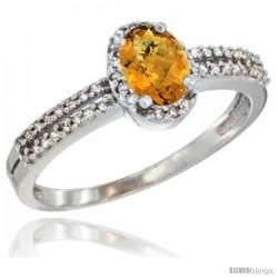 10K White Gold Natural Whisky Quartz Ring Oval 6x4 Stone Diamond Accent -Style Cw926178