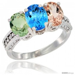 14K White Gold Natural Green Amethyst, Swiss Blue Topaz & Morganite Ring 3-Stone 7x5 mm Oval Diamond Accent
