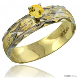 10k Gold Ladies' Solitaire 0.25 Carat Yellow Sapphire Engagement Ring Diamond-cut Pattern Rhodium Accent, 3/16 -Style 10y506er