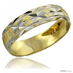 10k Gold Ladies' Wedding Band Ring Diamond-cut Pattern Rhodium Accent, 3/16 in. (4.5mm) wide -Style 10y506lb