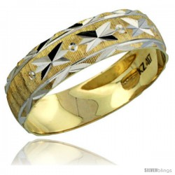 10k Gold Men's Wedding Band Ring Diamond-cut Pattern Rhodium Accent, 7/32 in. (5.5mm) wide -Style 10y506mb