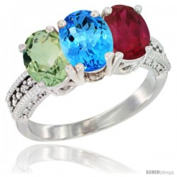 14K White Gold Natural Green Amethyst, Swiss Blue Topaz & Ruby Ring 3-Stone 7x5 mm Oval Diamond Accent