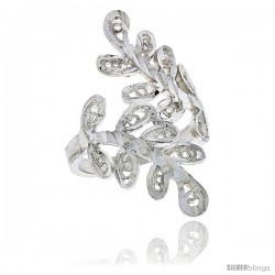 Sterling Silver Leaf Vine Filigree Ring, 1 1/16 in