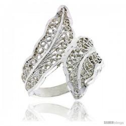 Sterling Silver Leaf Filigree Ring, 1 in