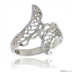 Sterling Silver Freeform Filigree Ring, 3/4 in -Style Fr473