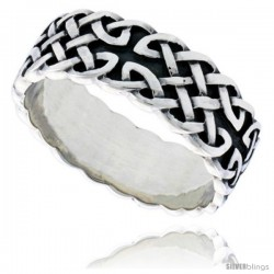 Sterling Silver Gent's Celtic Knot Wedding Ring Flawless Finish 5/16 in wide