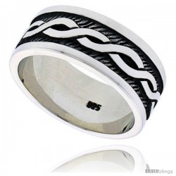 Sterling Silver Celtic Knot Men's Ring Flawless finish 3/8 in wide