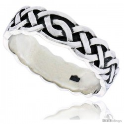 Sterling Silver Gent's Celtic Knotwork Interlace Ring Flawless finish 1/4 in wide