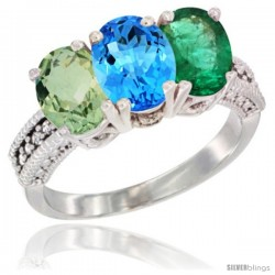 14K White Gold Natural Green Amethyst, Swiss Blue Topaz & Emerald Ring 3-Stone 7x5 mm Oval Diamond Accent