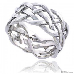 Sterling Silver Men's Woven Ring Flawless finish 1/2 in wide