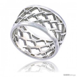 Sterling Silver Men's Chain Link Fence Wedding Ring Flawless finish 1/2 in wide