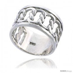 Sterling Silver Men's Interlaced Link Chain Wedding Ring Flawless finish 1/2 in wide