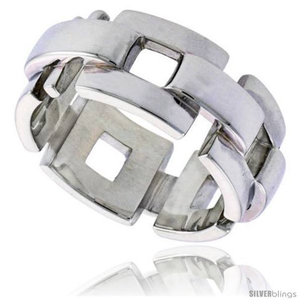 Sterling Silver Men S Square Link Chain Wedding Ring