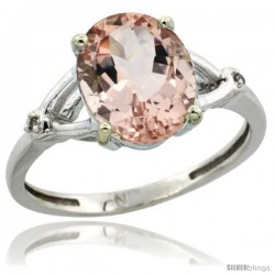 14k White Gold Diamond Morganite Ring 2.4 ct Oval Stone 10x8 mm, 3/8 in wide
