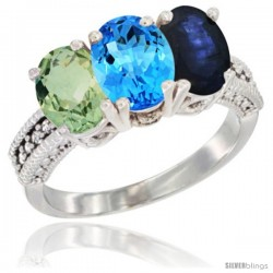 14K White Gold Natural Green Amethyst, Swiss Blue Topaz & Blue Sapphire Ring 3-Stone 7x5 mm Oval Diamond Accent
