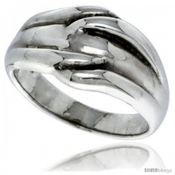 Sterling Silver Freeform Dome Ring 1/2 in wide -Style Tr429