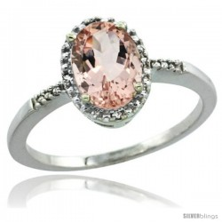 14k White Gold Diamond Morganite Ring 1.17 ct Oval Stone 8x6 mm, 3/8 in wide