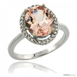 14k White Gold Diamond Morganite Ring 2.4 ct Oval Stone 10x8 mm, 1/2 in wide -Style Cw413114