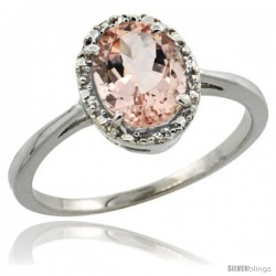 14k White Gold Diamond Halo Morganite Ring 1.2 ct Oval Stone 8x6 mm, 1/2 in wide