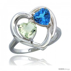 14k White Gold 2-Stone Heart Ring 6mm Natural Green Amethyst & Swiss Blue Topaz Diamond Accent, Diamond Accent