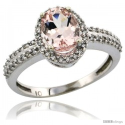 14k White Gold Diamond Halo Morganite Ring 1.2 ct Oval Stone 8x6 mm, 3/8 in wide