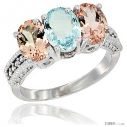 14K White Gold Natural Aquamarine & Morganite Sides Ring 3-Stone Oval 7x5 mm Diamond Accent