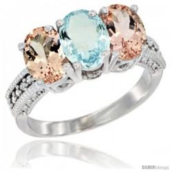 14K White Gold Natural Aquamarine & Morganite Sides Ring 3-Stone Oval 7x5 mm Diamond Accent