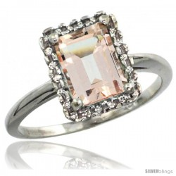 14k White Gold Diamond Morganite Ring 1.6 ct Emerald Shape 8x6 mm, 1/2 in wide
