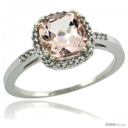14k White Gold Diamond Morganite Ring 1.5 ct Checkerboard Cut Cushion Shape 7 mm, 3/8 in wide