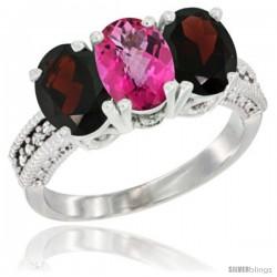 14K White Gold Natural Pink Topaz & Garnet Sides Ring 3-Stone 7x5 mm Oval Diamond Accent