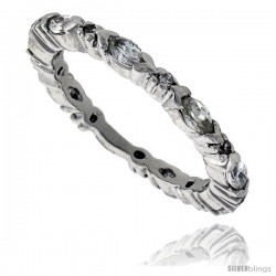 Sterling Silver Cubic Zirconia Eternity Band Ring Marquise Cut 4x2mm Rhodium finish