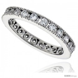 Sterling Silver Cubic Zirconia Eternity Band Ring Brilliant Cut Channel set 2mm Rhodium finish