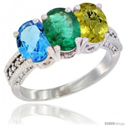 14K White Gold Natural Swiss Blue Topaz, Emerald & Lemon Quartz Ring 3-Stone 7x5 mm Oval Diamond Accent
