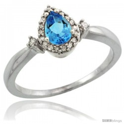 14k White Gold Diamond Swiss Blue Topaz Ring 0.33 ct Tear Drop 6x4 Stone 3/8 in wide