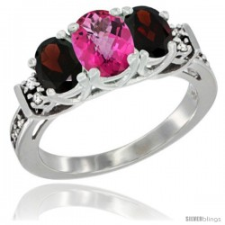 14K White Gold Natural Pink Topaz & Garnet Ring 3-Stone Oval with Diamond Accent
