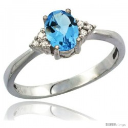 14k White Gold Ladies Natural Swiss Blue Topaz Ring oval 7x5 Stone Diamond Accent