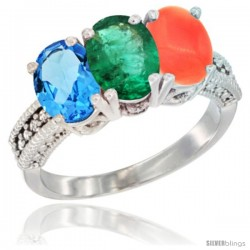 14K White Gold Natural Swiss Blue Topaz, Emerald & Coral Ring 3-Stone 7x5 mm Oval Diamond Accent