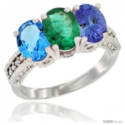 14K White Gold Natural Swiss Blue Topaz, Emerald & Tanzanite Ring 3-Stone 7x5 mm Oval Diamond Accent