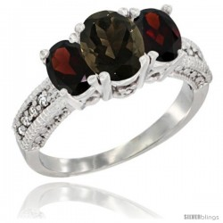 14k White Gold Ladies Oval Natural Smoky Topaz 3-Stone Ring with Garnet Sides Diamond Accent