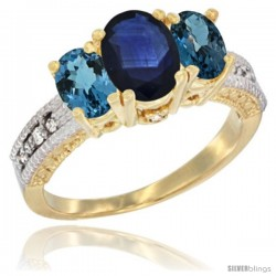 14k Yellow Gold Ladies Oval Natural Blue Sapphire 3-Stone Ring with London Blue Topaz Sides Diamond Accent