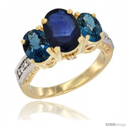 14K Yellow Gold Ladies 3-Stone Oval Natural Blue Sapphire Ring with London Blue Topaz Sides Diamond Accent