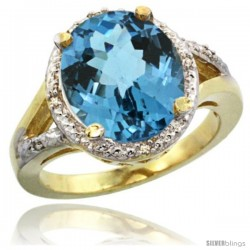 14k Yellow Gold Ladies Natural London Blue Topaz Ring oval 12x10 Stone Diamond Accent