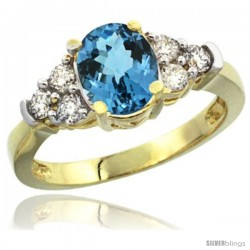 14k Yellow Gold Ladies Natural London Blue Topaz Ring oval 9x7 Stone Diamond Accent
