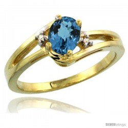 14k Yellow Gold Ladies Natural London Blue Topaz Ring oval 6x4 Stone Diamond Accent -Style Cy405165